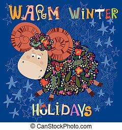 blu, divertente, inverno, simbolo, -, vacanze, flowers., riscaldare, vector., 2015, scheda natale, sheep
