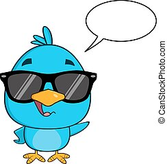 blu, divertente, occhiali da sole, uccello
