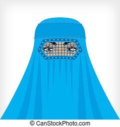 blu, donna, burqa, musulmano
