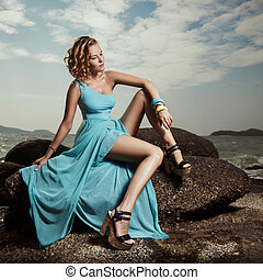 blu, donna, moda, esterno, ritratto, vestire