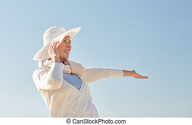 blu, donna, sole, sopra, cielo, anziano, cappello, felice