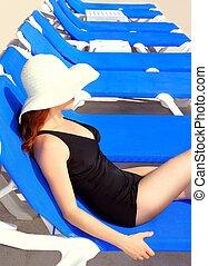 blu, donna, turista, sole, età, mezzo, amaca, abbronzante, fila