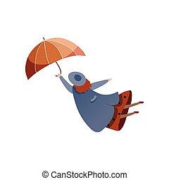 blu, donna, umbrella., season., impermeabile, volare, autunno, ventoso, vettore, disegno, hat., trendy, weather., signora