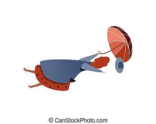 blu, donna, umbrella., wind., raincoat., volare, autunno, vettore, disegno, trendy, weather., forte, signora