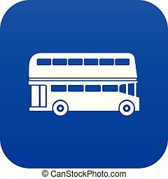 blu, doppio, autobus, decker, digitale, icona