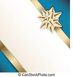 blu, dorato, arco, fondo, nastro bianco