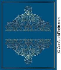 blu, dorato, decorazione, ornamentale, elegante, fondo, floreale