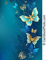 blu, dorato, farfalle, fondo