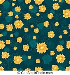 blu, dorato, modello, seamless, fondo, margherita, fiori