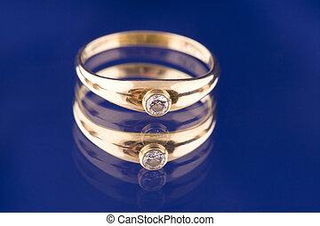 blu, dorato, pietra, anello