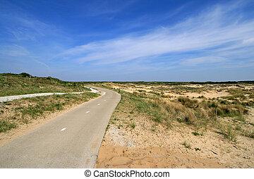 blu, dune, cielo, strada, vuoto
