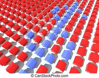 blu, e, rosso, case