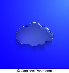 blu, eco, illustrazione, vetro, vettore, lucido, nuvola, icona