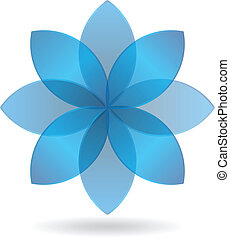 blu, elegante, fiore, logotipo