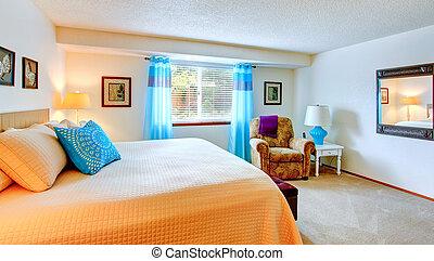 blu, elegante, interno, camera letto, elemento