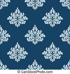 blu, elementi, damasco, modello, seamless, fogliame