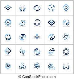 blu, elementi, icone, disegno astratto, colors., set.