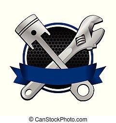blu, emblema, croce, strappare, pistone, da corsa, nastro