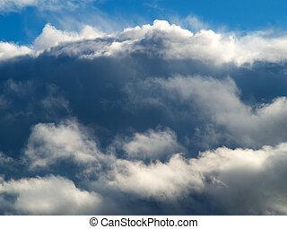 blu, enorme, nubi, fondo, cielo