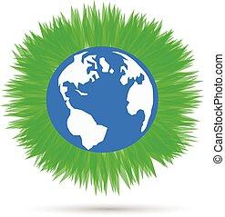 blu, eps10., illustrazione, pianeta, vettore, sfondo verde, erba