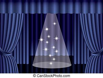 blu, eps10, palcoscenico, tenda, teatro, riflettore