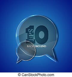 blu, eps10, vetro, fondo., vettore, discorso, cerchio, bolla
