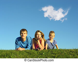 blu, erba, cielo, famiglia, sotto
