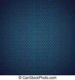 blu, esagono, metallo, fondo