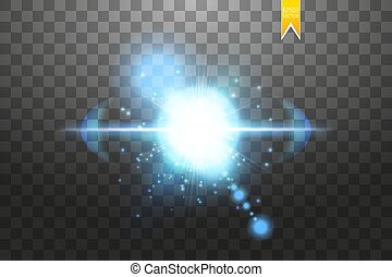 blu, esplosione, differente, raggi, stella, scintille, volare, particelle, illustrazione, effetto, vettore, flash., fondo, lens., indicazione, trasparente, splendore