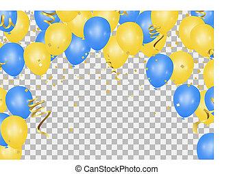 blu, essere, usato, pavimento, compleanni, matrimoni, giallo, lattina, events., palloni, traslucido