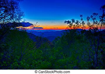 blu, estate, cresta, montagne, appalachian, tramonto, viale