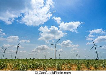 blu, estate, energia, cielo, fonte, rinnovabile, turbina, vento