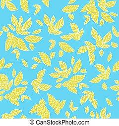 blu, estate, foglie, fondo