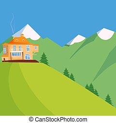 blu, estate, montagne, casa legno, cielo, foresta verde, campo, paesaggio