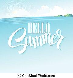 blu, estate, paesaggio., illustrazione, vettore, mare