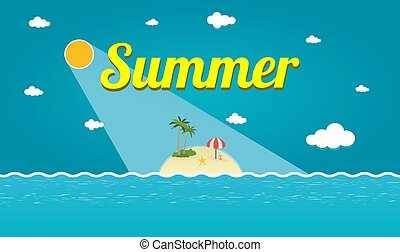 blu, estate, palme, isola, cielo, illustrazione, tropicale, vettore, sotto