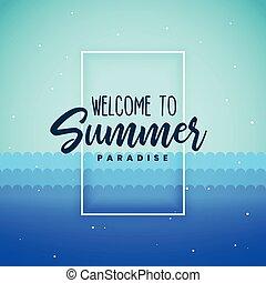 blu, estate, paradiso, fondo, manifesto