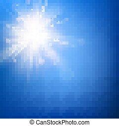 blu, estate, raggi, scoppio, sole, cielo, flare., eps, lente, caldo, sagoma, 10