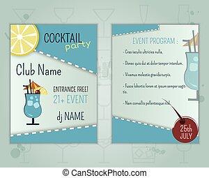 blu, estate, restaurant., insolito, disposizione, laguna, cocktail, vettore, moderno, fresco, isolato, ghiaccio, o, fondo., aviatore, disegno, sagoma, sbarra, festa, program., evento