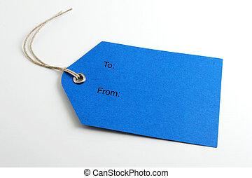 blu, etichetta