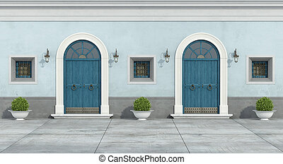 blu, facciata, vecchio