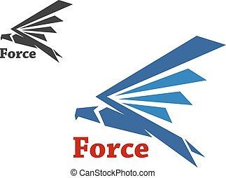 blu, falco, simbolo, forza
