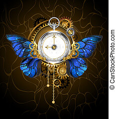 blu, farfalla, ali, orologio