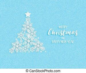 blu, fatto, fiocchi neve, mestiere, taglio, albero, carta natale, fondo., vettore, digitale, origami, style., illustration.
