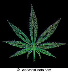 blu, fatto, foglia, marijuana, colori, sfondo verde, nero rosso