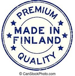 blu, fatto, premio, francobollo, finlandia, guarnizione gomma, grunge, qualità, rotondo