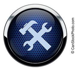 blu, favo, riparazione, icona