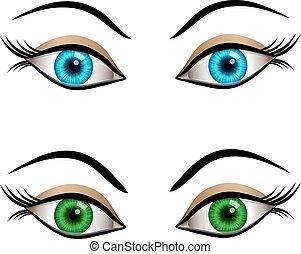 blu, femmina, occhi, verde