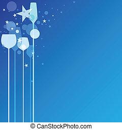 blu, festa, occhiali