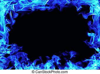 blu, fiamme, cornice incendio, sfondo nero